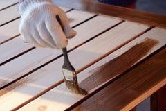 Painting wooden worktops Stock Photo