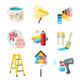Painting Work Set. Painting work decorative icons set with bucket roller color palette isolated vector illustration Royalty Free Stock Images