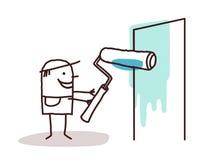 Painting worker. Painting cartoon worker illustration stock illustration