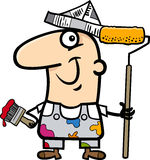 Painting worker cartoon illustration Stock Image