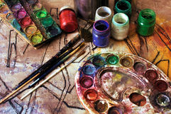 Painting workshop - paint palette Royalty Free Stock Photo