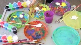 Painting workshop stock video footage