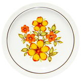 Painting yellow flowers on dish. On white background Royalty Free Stock Images