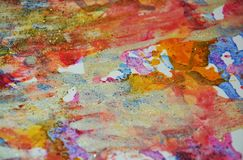 Orange pink pastel forms, abstract pastel hues. Painting yellow green blue golden forms and paint spots in pastel hues are placed on abstract playful background royalty free stock image