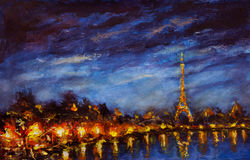 Painting Yellow lights of Eiffel Tower reflected in Seine river in blue night. Original oil painting Yellow lights of Eiffel Tower reflected in Seine river in Stock Photo