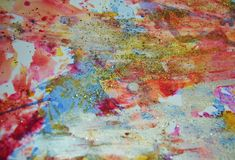 Violet pink orange beige pastel forms, abstract pastel hues. Painting yellow orange violet beige green blue golden forms and paint spots in pastel hues are royalty free stock image