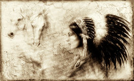 Painting of a young indian woman  with an image of two white horse spirits hovering above her palm, Crackle structure, vintage. Picture Stock Image