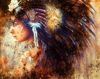 Painting of a young indian woman wearing a big feather headdress, a profile portrait on structured abstract background. Stock Images