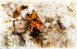 Painting  Young woman and lion cub. eye contact. Stock Photos