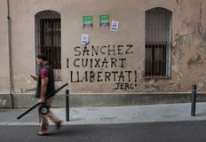 Paintings against political prisoners in barcelona Stock Images