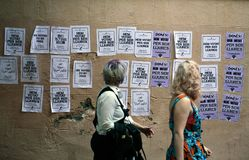 Paintings against political prisoners in barcelona Royalty Free Stock Images