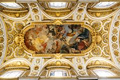 Paintings And Frescoes On Church Ceiling Royalty Free Stock Photography