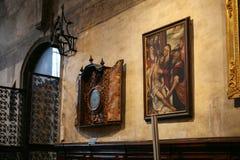 Paintings in Basilica Santa Maria Gloriosa Frari. VENICE, ITALY - OCTOBER 13, 2016: paintings in Basilica Santa Maria Gloriosa dei Frari, Venice. Frari is one of stock image