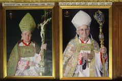 Paintings of holy Cardinals in Cathedral of Saint Mary,Toledo, Spain Royalty Free Stock Images
