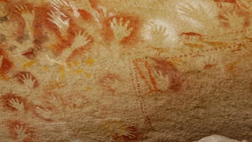 The paintings in the caves of Cueva de Las Manos on a Sunny day. Paintings in caves of Cueva de las Manos stock video footage