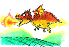Paintings of children aged 7 years. Dargon painting by children aged 7 years Stock Photos