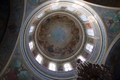 Paintings at church. Paintings at ceiling of Russian orthodox church Stock Photos