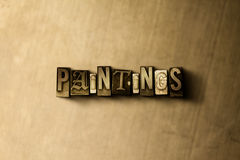 PAINTINGS - close-up of grungy vintage typeset word on metal backdrop Royalty Free Stock Images