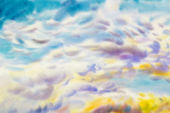 Paintings  cloud, sky of climate, beauty soft in the air. Watercolor paintings  cloud, sky colorful of climate, beauty azure soft in the air and  season nature Stock Photography