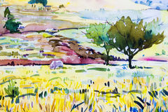 Paintings colorful of cottage and rice field , with mountain. Royalty Free Stock Photos