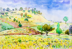 Paintings colorful of cottage and rice field , with mountain. Stock Photography