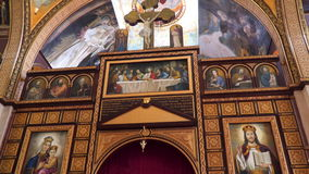The paintings Coptic Orthodox Church of Sharm el-Sheikh. Sharm el Sheikh, Egypt - January 8, 2017: The paintings Coptic Orthodox Church of Sharm el-Sheikh stock video