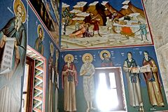 The paintings depicting the saints inside an orthodox church on the samos island stock image