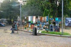 Paintings at Dry Bridge Market in Tbilisi Georgia. Stock Photo
