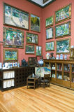 Paintings with easel in foreground by Joaqu�n Sorolla y Bastida (1863-1923) as seen in The Sorolla Museum, Madrid, Spain Royalty Free Stock Photography