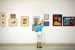 Paintings in an exhibition Stock Photos