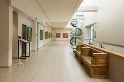 Paintings exhibition in Jurmala, hall view Royalty Free Stock Images