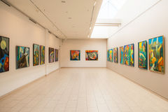 Paintings exhibition in Jurmala, hall view Stock Photography