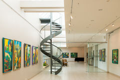 Paintings exhibition in Jurmala, hall view Stock Photo