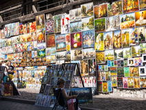 Paintings by the Florian Gate on of the city gates in Krakow Poland. Krakow, the unofficial cultural capital of Poland, was named the official European Capital Stock Images