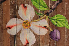 Paintings of flowers on wood floors. Painting flowers Camille along the wooden floor royalty free stock images