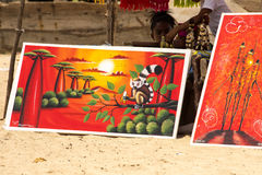 Paintings by folk artists, Nosy Be, Madagascar royalty free stock photos