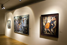 Paintings in gallery Stock Image