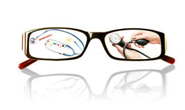 Paintings on the glasses with a medical theme Royalty Free Stock Photography