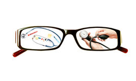 Paintings on the glasses with a medical theme Stock Photography