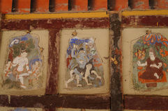 Paintings at Hemis Monastery  in Hemis, India. Royalty Free Stock Photography