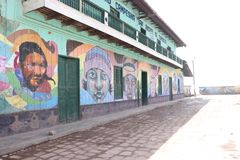 Mágica paintings in a small town in the peruvian highlands stock image