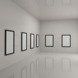 Paintings inside a gallery Stock Photography