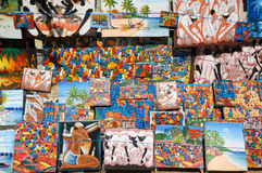 Paintings of a market at Santo Domingo on Dominican Republic Royalty Free Stock Images