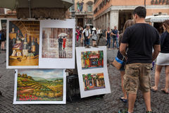 Paintings Navona Square Stock Photo