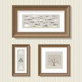 Paintings in oak frames Stock Photo