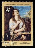Paintings on postage stamps. Cancelled postage stamp printed by Soviet Union, that shows painting of Mary Magdalene confesses her Sins by Titian, circa 1971 stock image