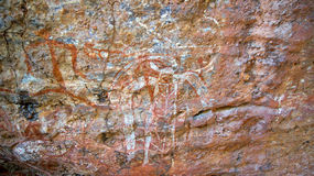 Paintings on rocks in australia Stock Images