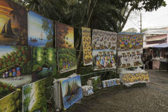 Paintings for sale in Embu das Artes royalty free stock photography