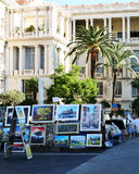 Paintings for sale in Nice France. Beside market stalls Stock Photos
