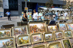 Paintings sale on the street market Royalty Free Stock Photos